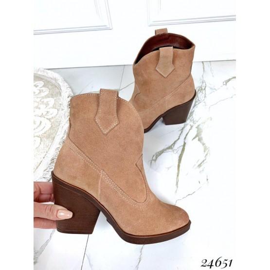 Ботинки казаки замшевые
