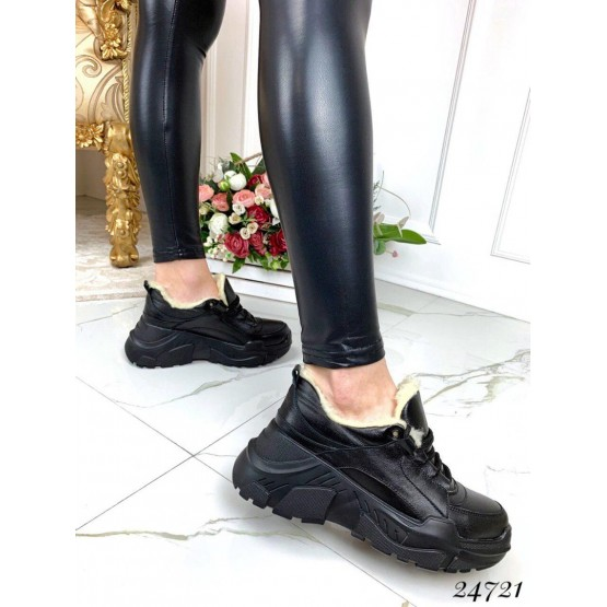 Зимние ботинки кожаные на толстой подошве