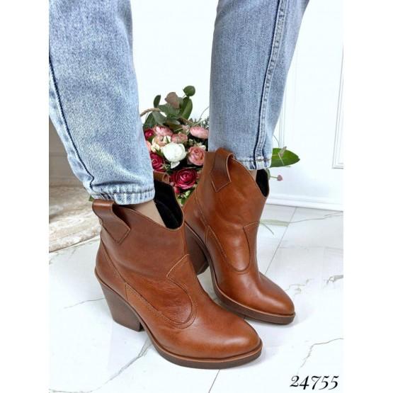 Зимние ботинки казаки , коричневый