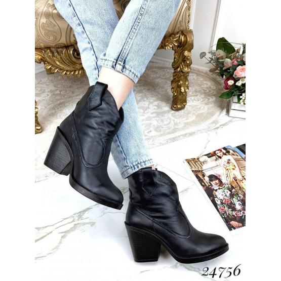 Зимние ботинки казаки, черный