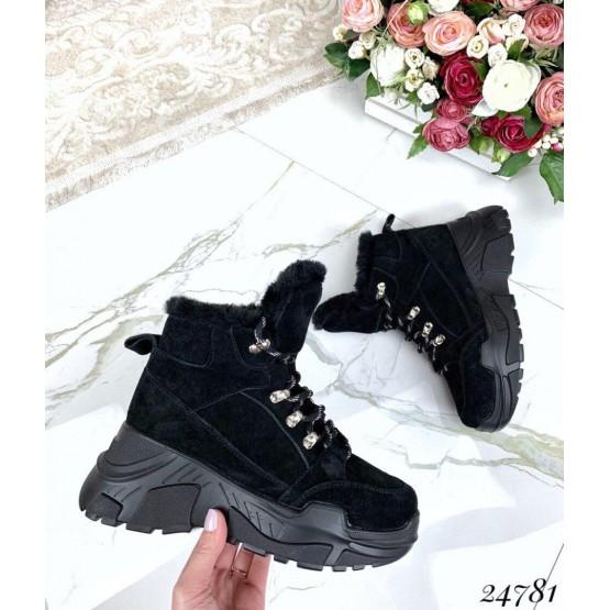 Ботинки зимние черный замш
