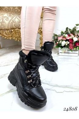 Зимние ботинки кожаные