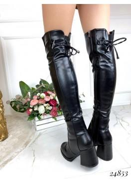 Зимние ботфорты на широком каблуке