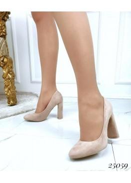 Туфли широкий каблук круглый нос