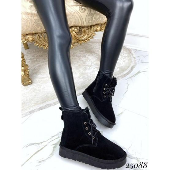 Замшевые угги ботинки на шнуровке