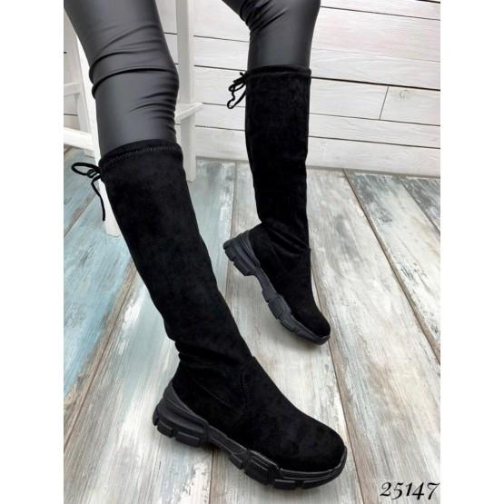 Сапоги чулки со шнурком,на черной подошве