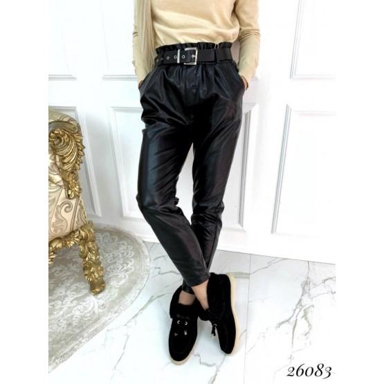 Женские кожаные штаны с поясом