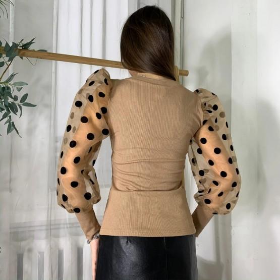 Женская кофта с рукавами горошек