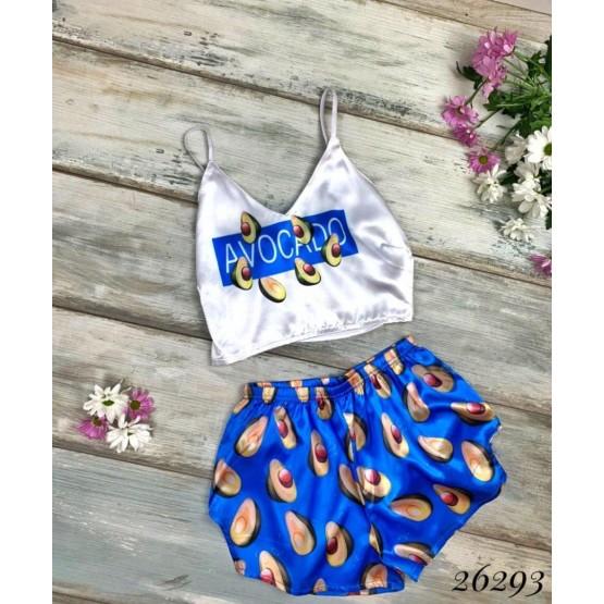 Женская пижама Авокадо шелковая