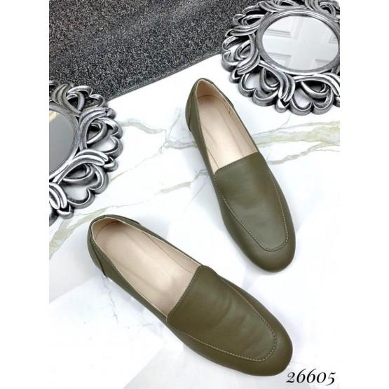 Туфли лоферы кожаные на низком ходу
