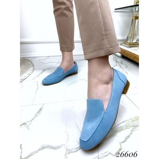 Туфли лоферы замшевые на низком ходу