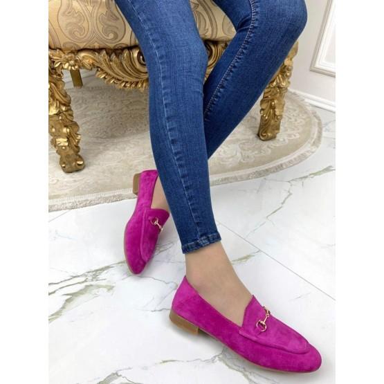 Туфли лоферы в стиле Gucci сирень