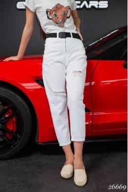 Укороченные джинсы рванка с ремнем
