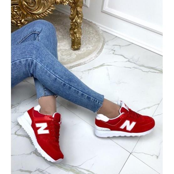 Кроссовки красные замшевые