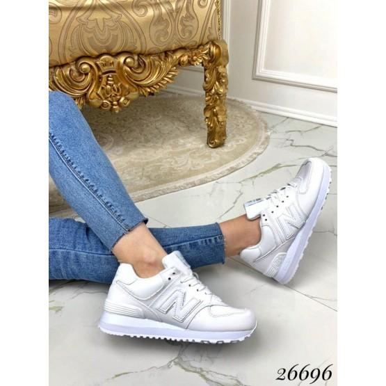 Кроссовки белые полностью кожа