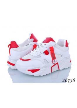 Яркие женские кроссовки белый-красный