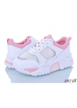 Женские кроссовки белый-розовый