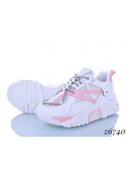 Кроссовки сетка белый-розовый