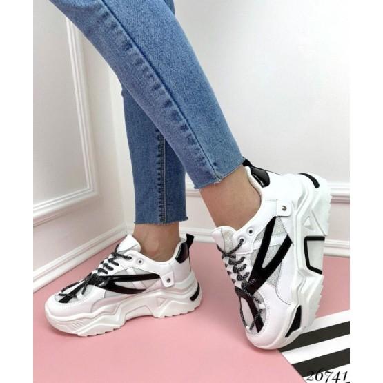 Кроссовки сетка белый-черный