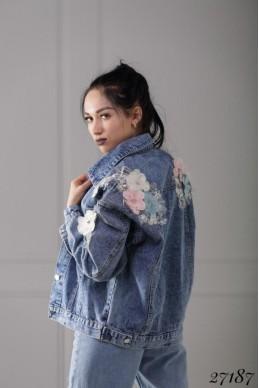 Куртка   джинсовка  цветы