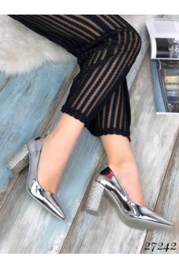 Туфли серебряные, каблук стразы