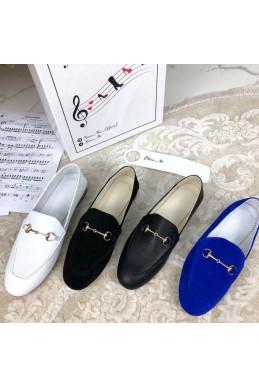 Туфли балетки замшевые в стиле Gucci