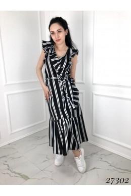 Платье лен в полоску, косичка пояс