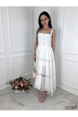 Платье сарафан кружево белый