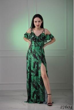 Сарафан волан зеленые листья