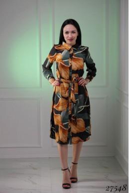 Платье шелк цветы желтые