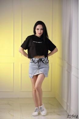 Юбка джинсовая рванка