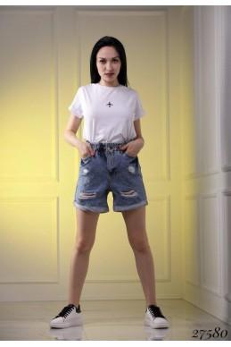 Джинсовые шорты высокие