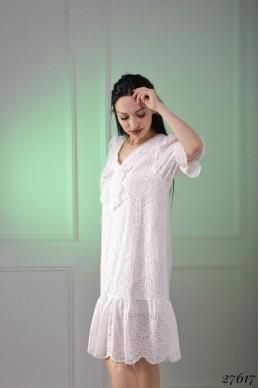Платье короткий рукав вышивка прошва