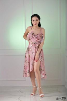 Платье шифон на запах, цветочный принт
