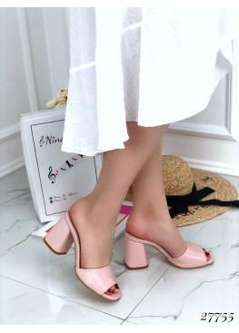Сабо кожаные Nina_Mi на каблуке, пудра.