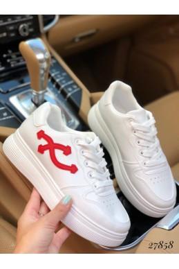 Кеды Fashion белый/красный