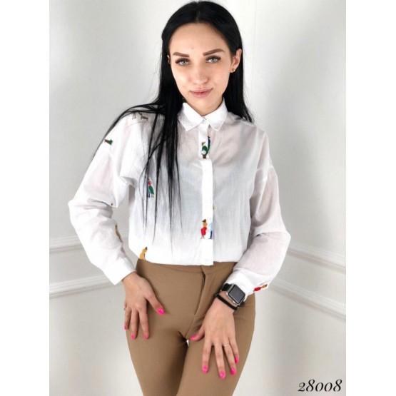 рубашка с вышитым принтом