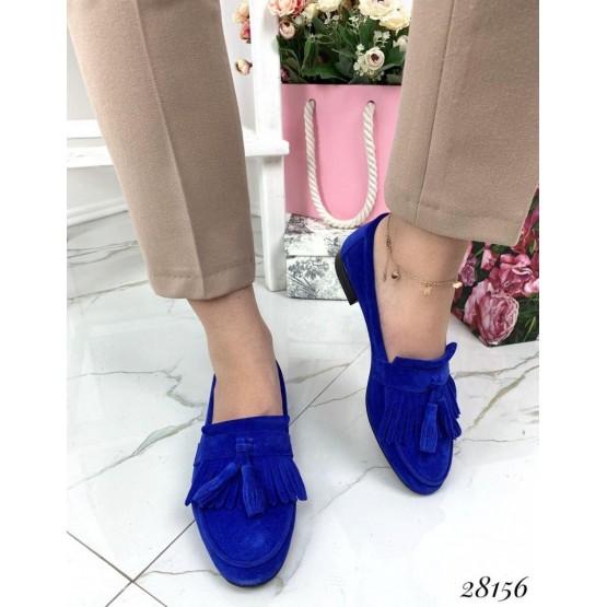 Туфли лоферы с кисточками замшевые