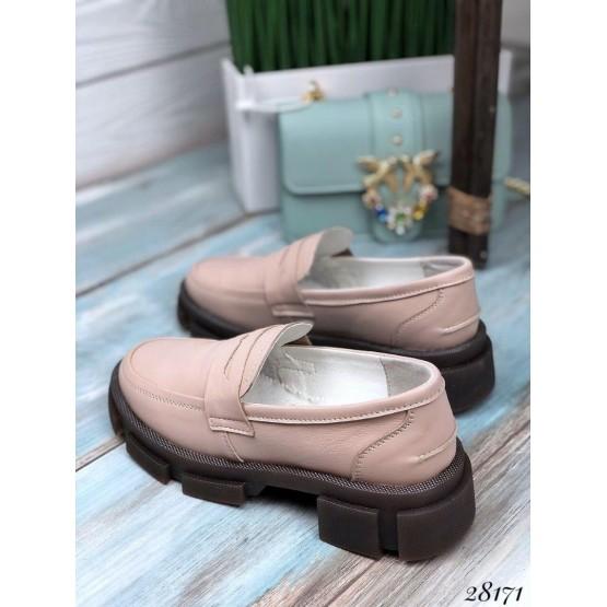 Туфли лоферы на тракторной подошве