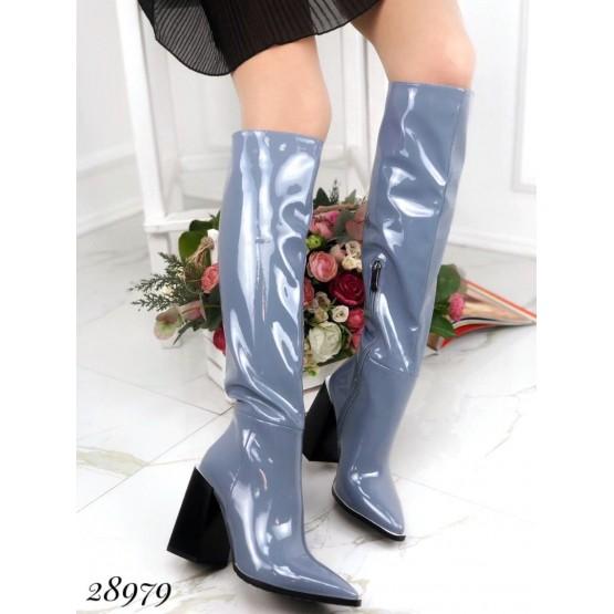 Сапоги , демисезон на устойчивом квадратном каблуке