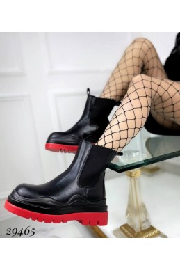 Ботинки с на резинках с красной подошвой