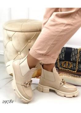 Ботинки челси демисезон с цепью,лаковые.