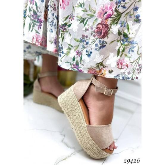 Замшевые босоножки на плетенной подошве