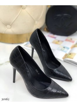 Лодочки на высоком каблуке питон