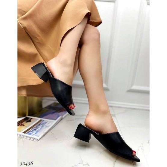 Кожаные шлепанцы на каблуке  Nina_mi