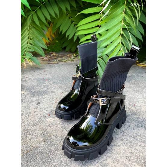 Ботинки с вязаной вставкой