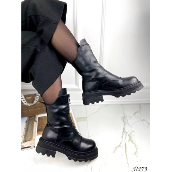 Ботинки зимние, спереди с молнией