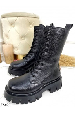 Кожаные зимние  ботинки берцы Nina Mi
