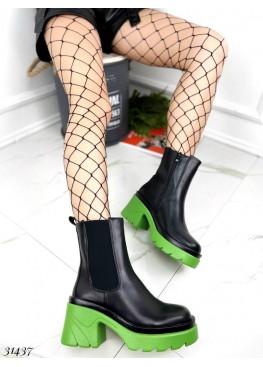 Ботинки демисезон на зеленой подошве